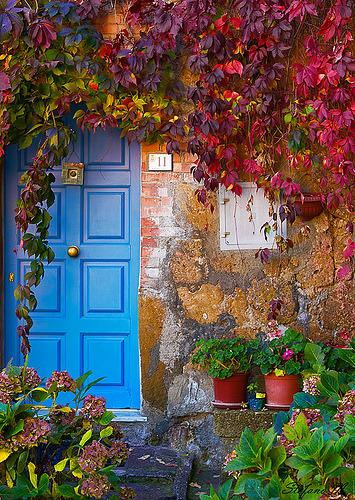 Blue Door, Tuscany, Italy