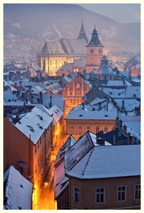 Snowy Night, Brasov, Bucharest, Romania