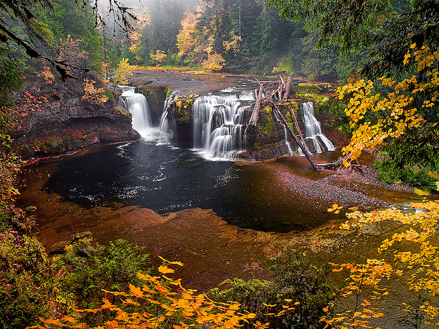 by Konejita on Flickr.Autumn colours at Lower Lewis River Falls - Gifford Pinchot National Forest, Washington.