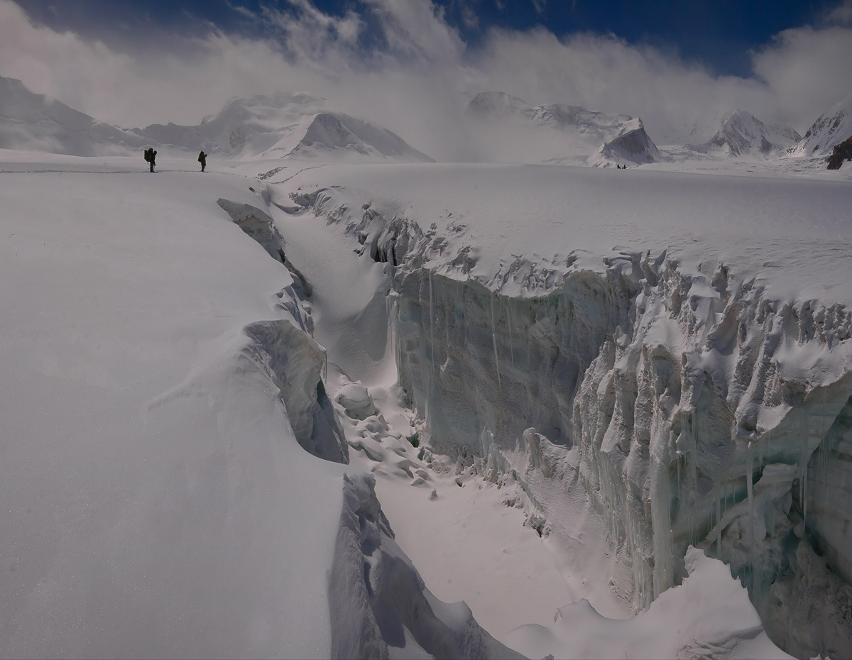 A huge crevase in one of Pamir Mountains glaciers.