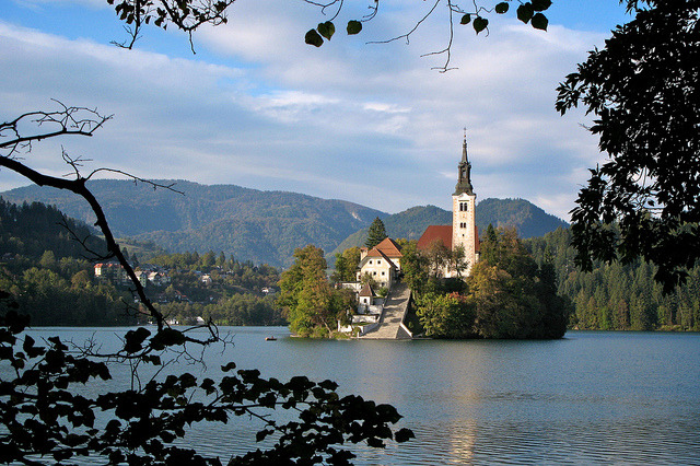by Frank Fujimoto on Flickr.Small island and church in the middle of Lake Bled, Slovenia.