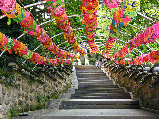 Colorful lanterns at Beomeosa Temple in South Korea