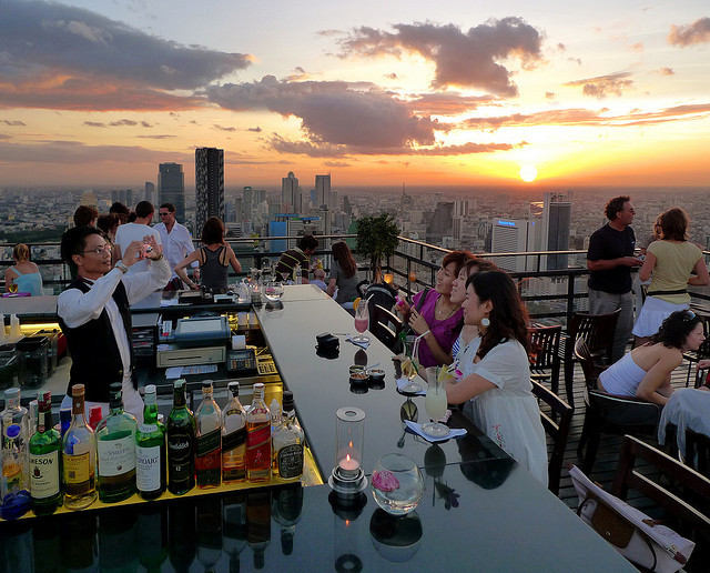 Enjoying a drink on the top of Banyan Tree Hotel, Bangkok, Thailand