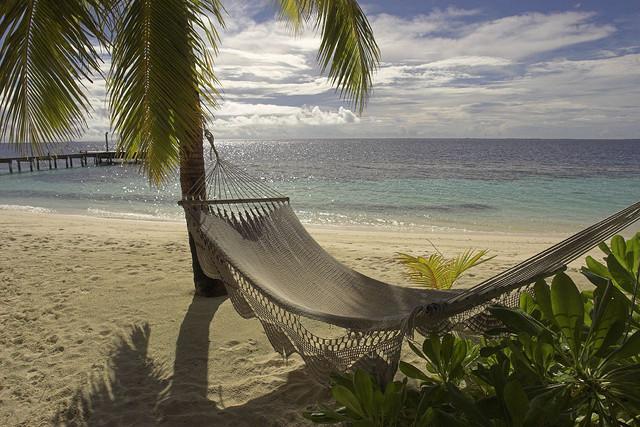 Empty hammock at Mirihi beach, Maldives