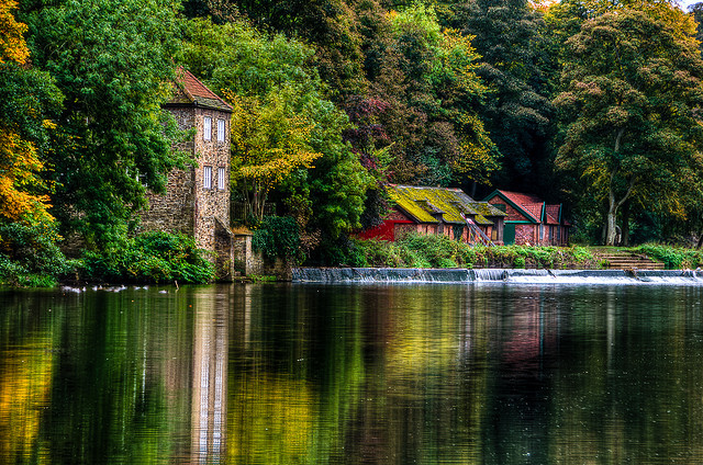 Old Fulling Mill and Boathouse on the River Wear in Durham city, England