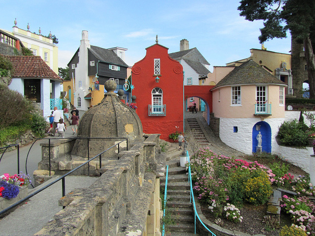 The popular tourist village of Portmeirion in Gwynedd, North Wales