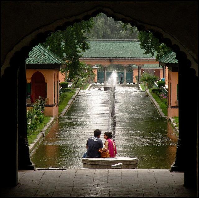 Romance in Shalimar Bagh Gardens near Srinagar, India