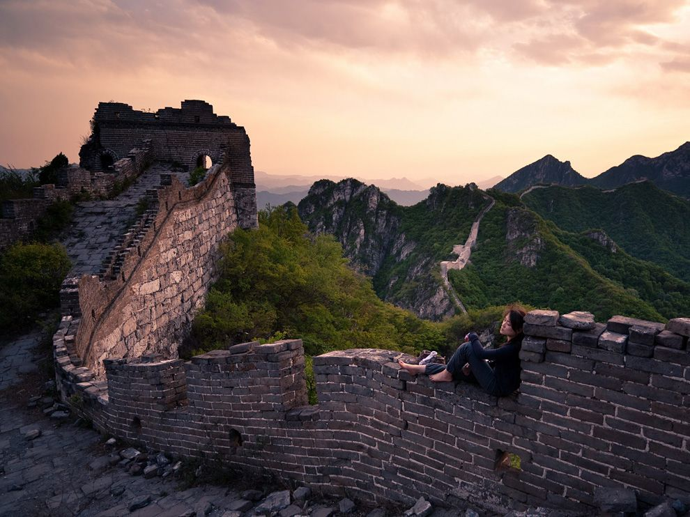 Resting on The Great Wall of China near Xizhazi Village
