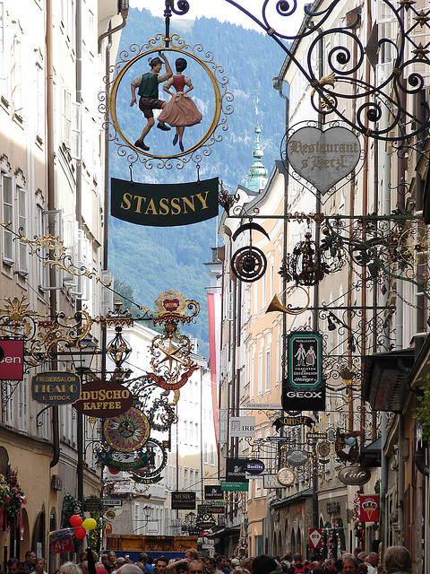 Shop signs on Getreidegasse, Salzburg, Austria