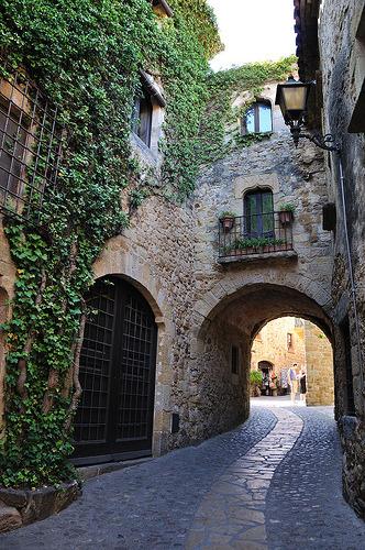 Cobblestone Street, Pals, Catalonia, Spain