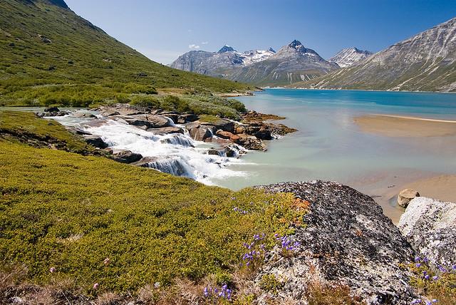 Uiluiit Kuua river waterfalls in Tasermiut Fjord, Greenland
