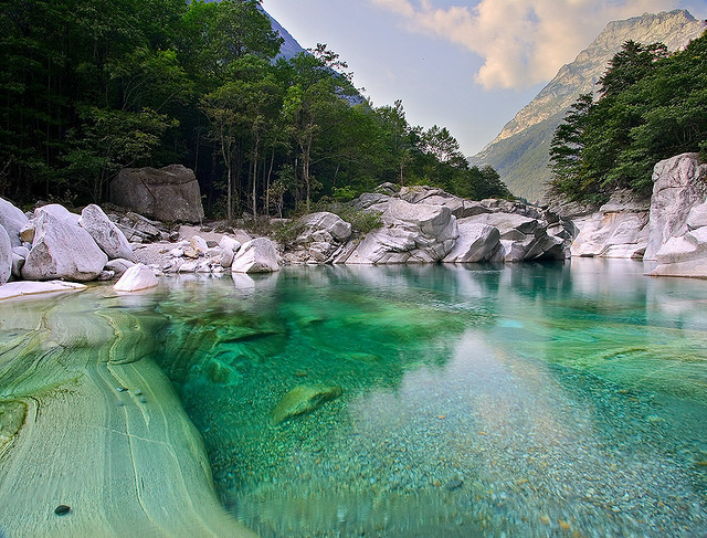 Clear turqoise waters of Verzasca River in Ticino, Switzerland