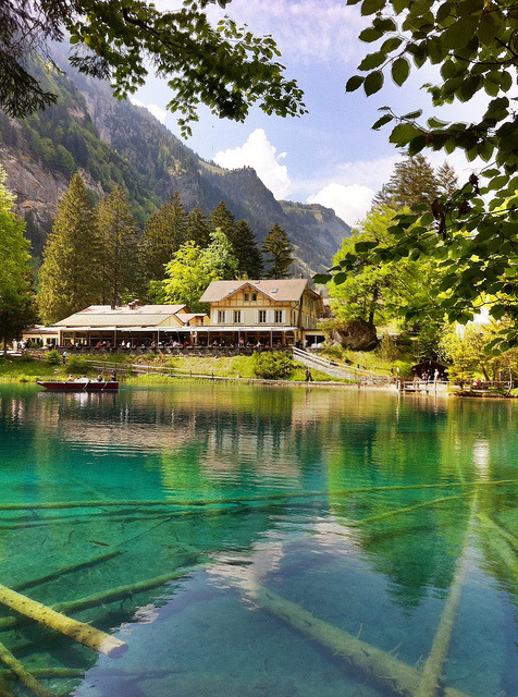 The idyllic Blausee in Kander Valley, Bernese Oberland, Switzerland