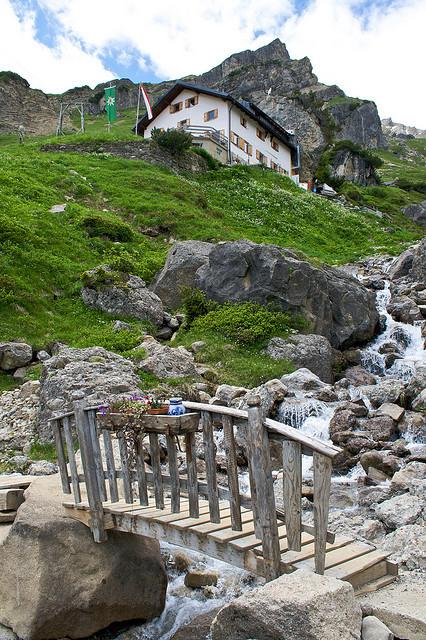 Arriving at Muttenkopf hut near Imst, Tirol, Austria