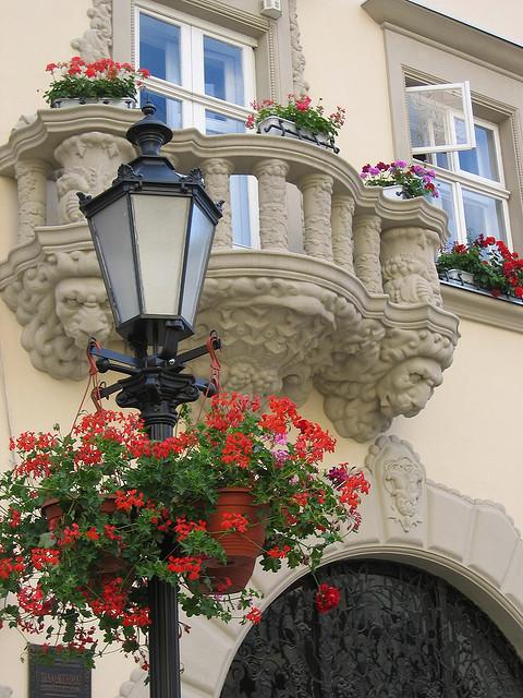 Beautiful balconies of Rynok Square in Lviv, Ukraine