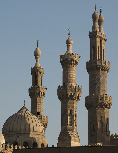 Mosque minarets in old Cairo, Egypt