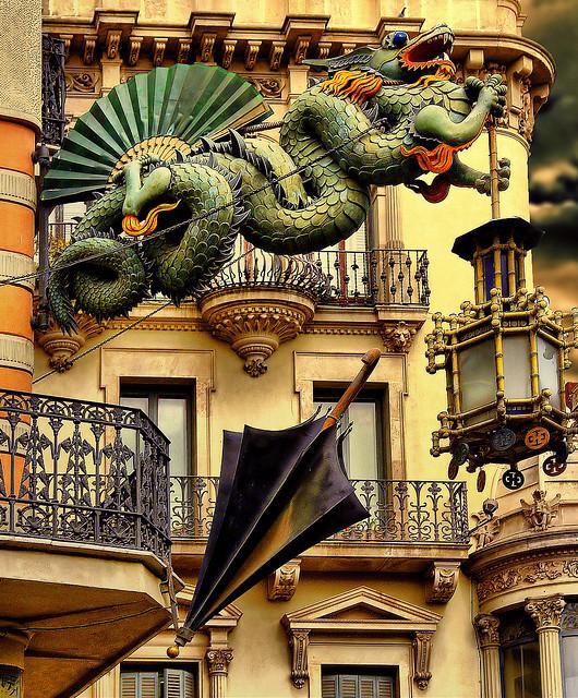 Architectural details on La Rambla street, Barcelona, Spain