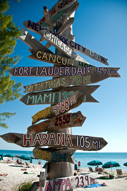 Sign at Fort Zachary Taylor Beach, Key West, Florida, USA