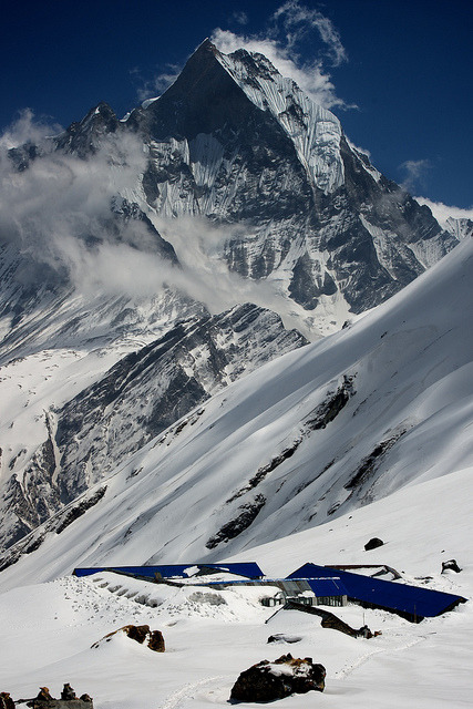 Annapurna Base Camp under the peak of Macchapucchre, Nepal