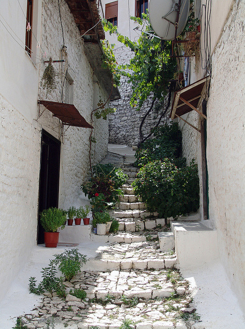 Narrow alleys in the old town of Berat, Albania