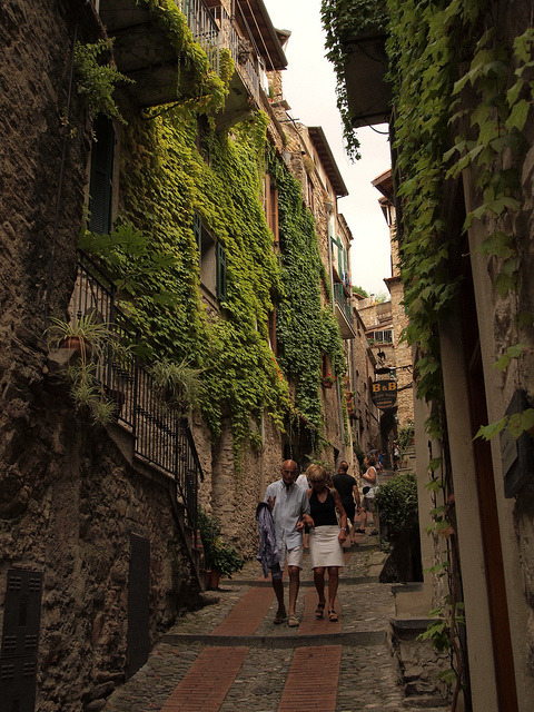 Strolling on the medieval streets of Dolceacqua in Liguria, Italy