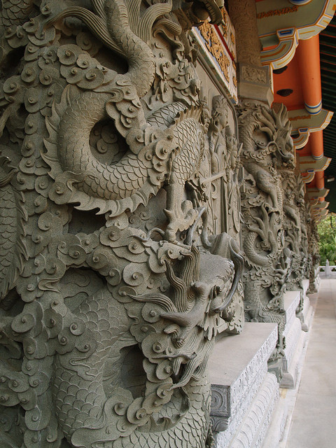 Architectural details at Po Lin Monastery, Lantau Island, Hong Kong