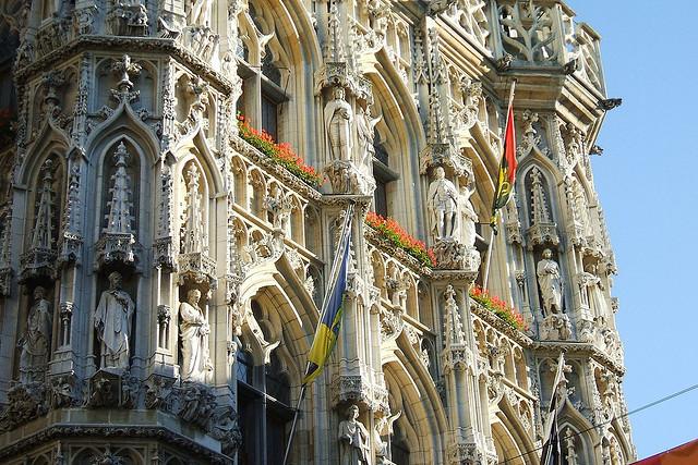 Gothic architecture at Leuven Town Hall, Belgium