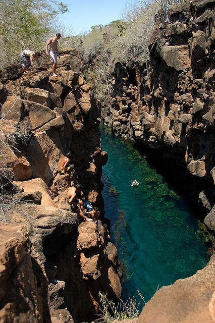 Las Grietas, a natural lava fissure filled with water, popular dive site in Galapagos Islands, Ecuador