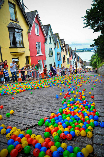 The Barrack Hill Ball Roll is a unique lottery when thousands of coloured numbered balls cascade and bounce down West View in Cobh, Ireland