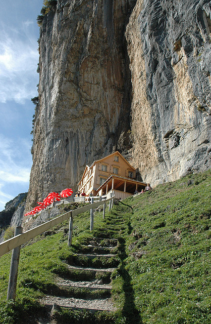 Aescher-Wildkirchli Mountain Hut below Ebenalp in Appenzell, Switzerland
