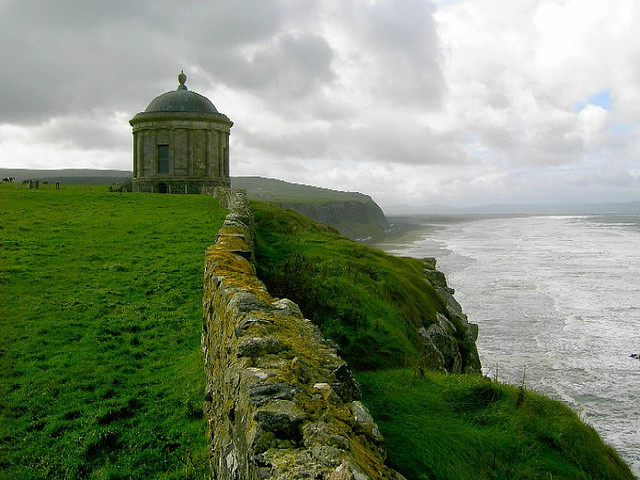 Mussenden Temple, high above the Atlantic Ocean on the north-western coast of Northern Ireland