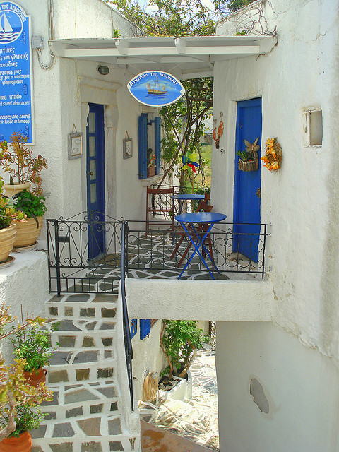 Small picturesque terrace in Lefkes, Paros Island, Greece