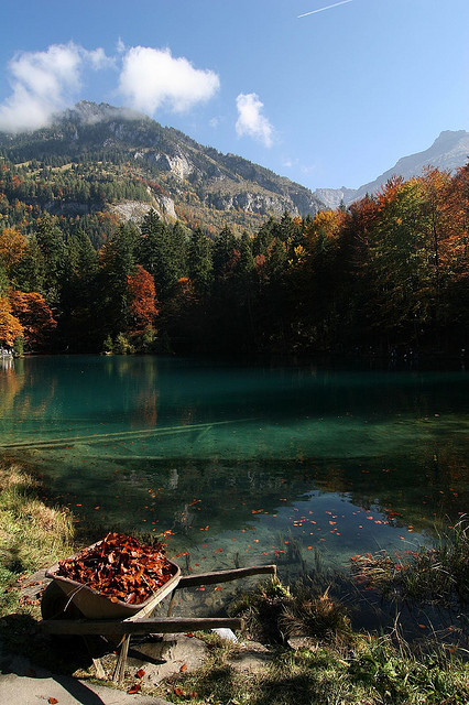 Autumn colors at Blausee  in Kander Valley, Switzerland