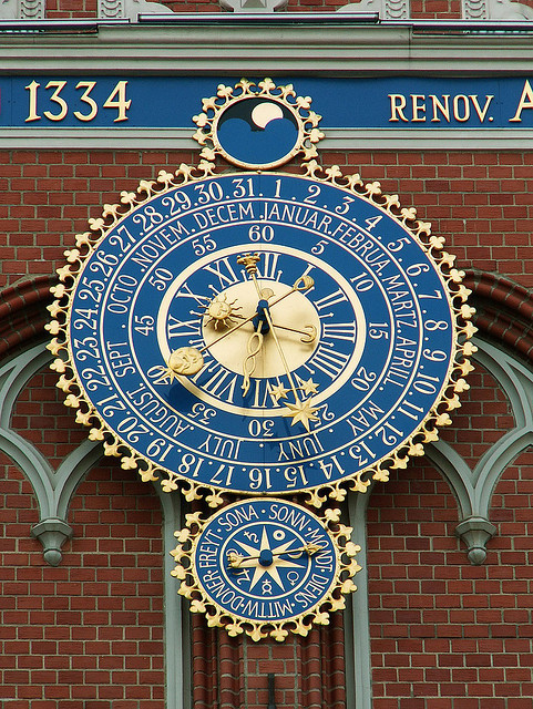 Beautiful clock of the City Council in Riga, Latvia