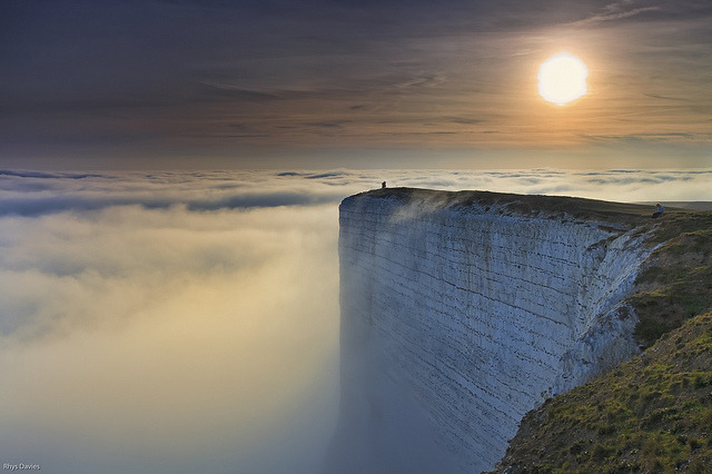 Beachy Head chalk cliff in East Sussex, England