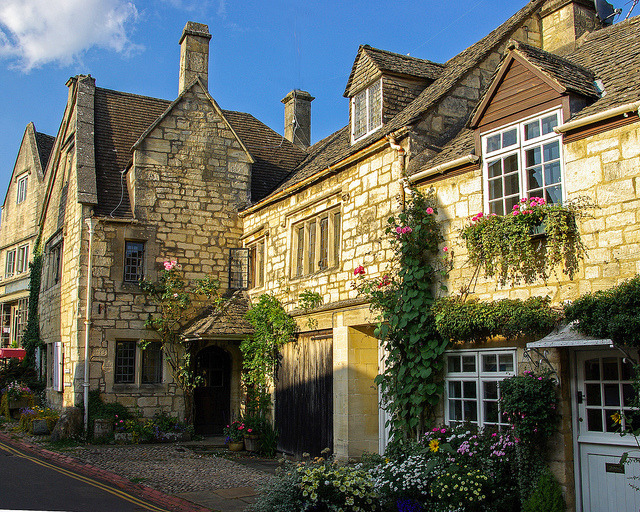 The lovely old village of Painswick in Gloucestershire, England