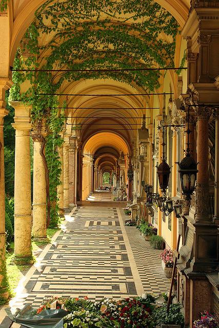 Ivy covered arcades at Mirogoj Cemetery, Zagreb, Croatia