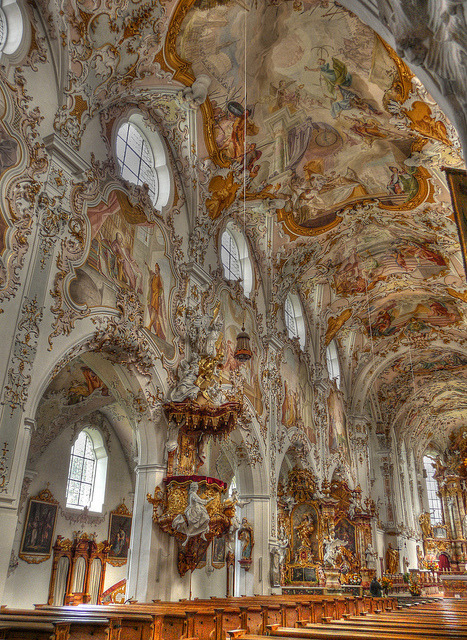 Beautiful baroque architecture inside Rottenbuch Abbey, Bavaria, Germany