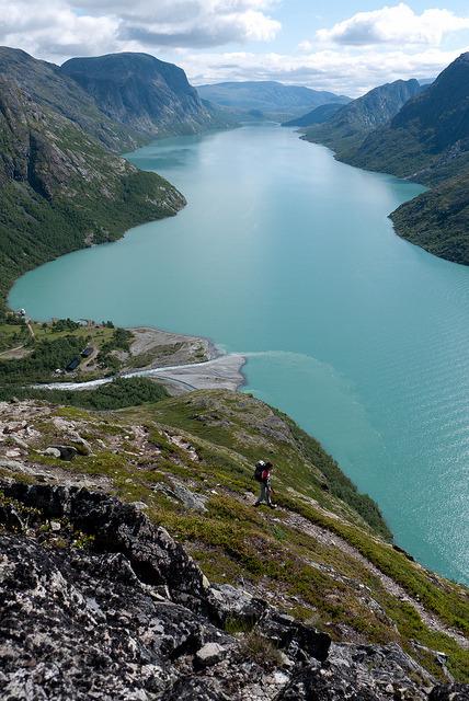 The beautiful Gjende Lake in Jotunheimen National Park, Norway