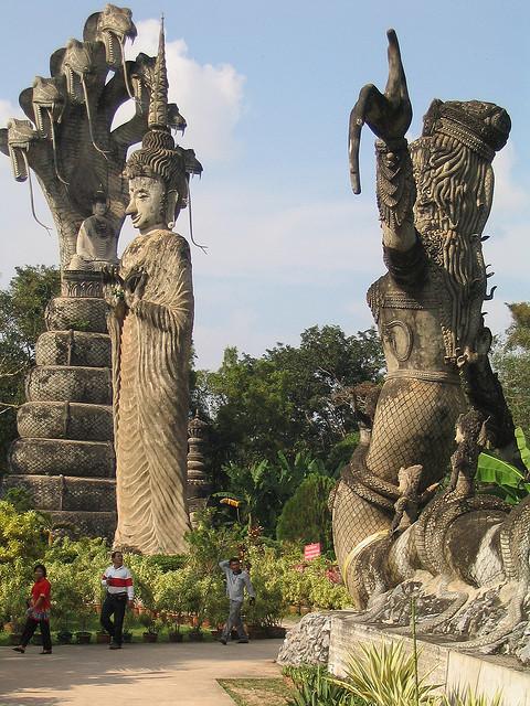 Buddha Park's massive statues in Nong Khai, Thailand