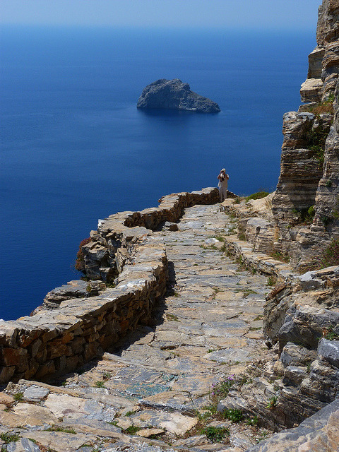Seaside rocky trail toward the Monastery of Panagia Hozoviotissa, Amorgos island, Greece