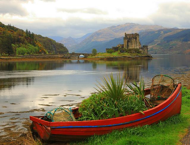Abandoned boat on Loch Duich, Highlands, Scotland