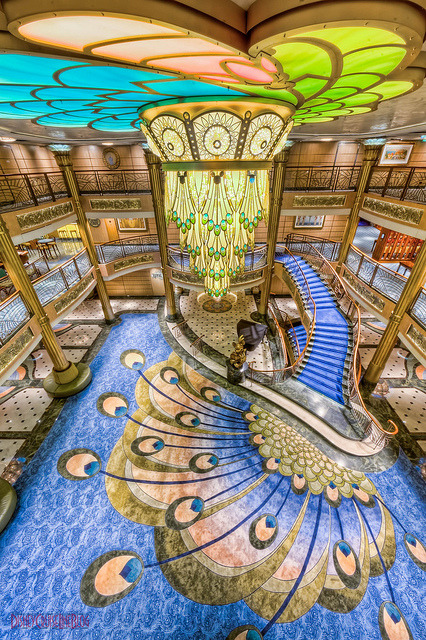 Lobby atrium from deck 5 inside Disney Fantasy Cruise Ship