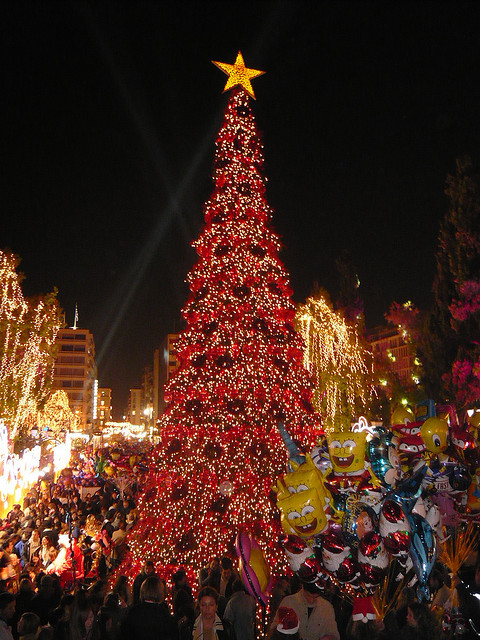 Christmas decorations on Syntagma square, Athens, Greece