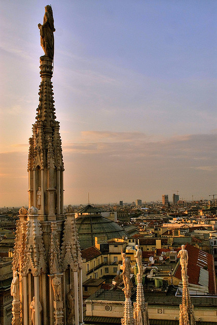 View of Milan, from the top of Il Duomo, Italy