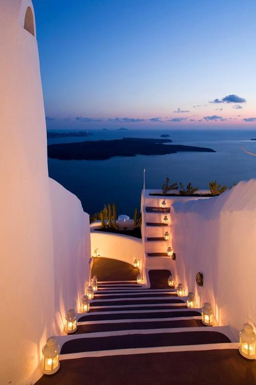 Lantern Stairs, Santorini, Greece