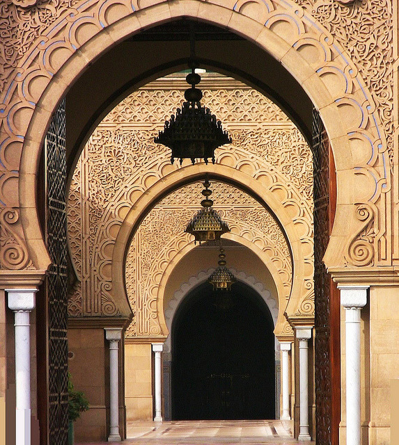 Arches of the Royal Palace in Rabat, Morocco
