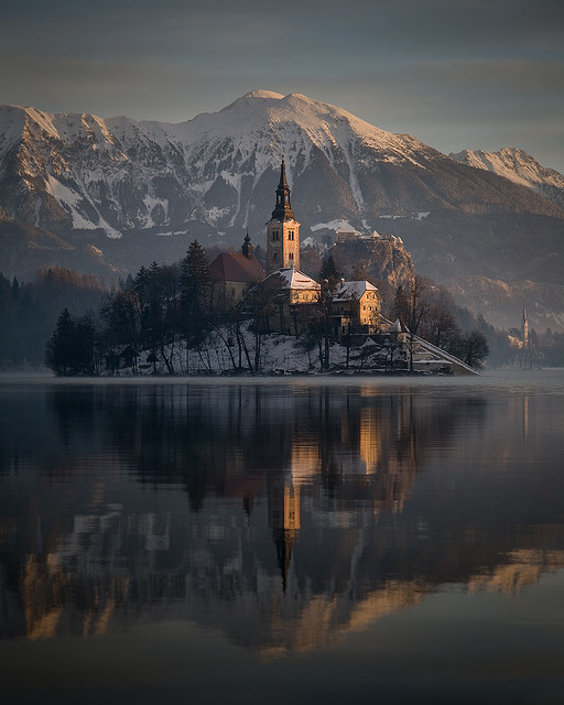 Winter sunrise at Lake Bled, Slovenia