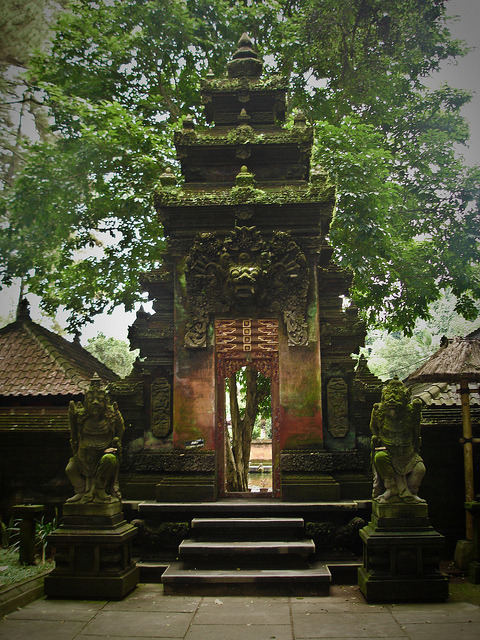 The gate to Tampak Siring Temple in Bali, Indonesia