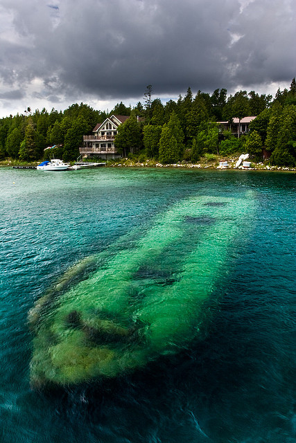 Another view of Sweepstakes Shipwreck near Tobermory, Ontario, Canada